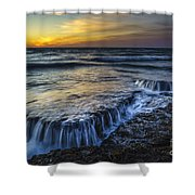 Dusk At Torregorda Beach San Fernando Cadiz Spain Shower Curtain