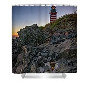 Dusk At West Quoddy Head Lighthouse Shower Curtain