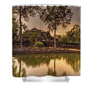 Dusk Light Preah Khan Temple Reflection Shower Curtain