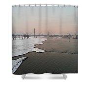 Dusseldorf Rhine In The Snow Shower Curtain