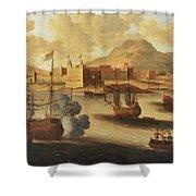 Dutch And English Warships Shower Curtain