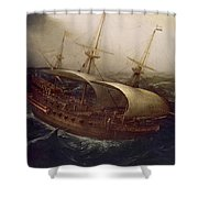 Dutch Battleship In A Storm Shower Curtain by Hendrick Cornelisz Vroom