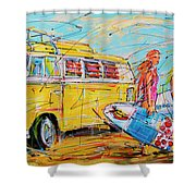 Dutch Holiday, Yellow Surf Bus Shower Curtain
