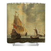 Dutch Ships In A Lively Breeze Shower Curtain