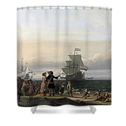 Dutch Ships In The Roads Of Texel Shower Curtain