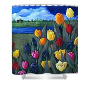 Dutch Tulips With Landscape Shower Curtain