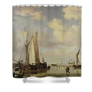 Dutch Vessels Inshore And Men Bathing Shower Curtain by Willem van de Velde