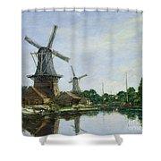Dutch Windmills Shower Curtain by Eugene Louis Boudin