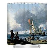 Dutchman Embarking Onto A Yacht Shower Curtain