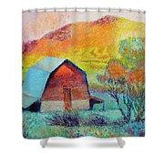 Dyeleaf Mountain Barn Sunrise Shower Curtain