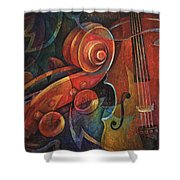 Dynamic Duo - Cello And Scroll Shower Curtain