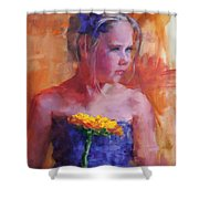 E With A Yellow Flower Shower Curtain