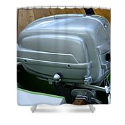 Vintage Silver Outboard Boat Motor Shower Curtain