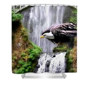 Eagle By The Waterfall Shower Curtain