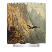 Eagle Circling Before A Cliff Face Shower Curtain