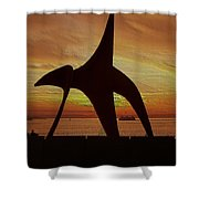Eagle Sunset Over Elliott Bay Shower Curtain