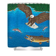 Eagle Trophy Brown Trout Rainbow Trout Art Print Blue Mountain Lake Artwork Giclee Birds Wildlife Shower Curtain