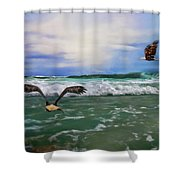 Eagles At Sea Wildlife Art Shower Curtain