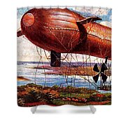 Early 1900s Military Airship Shower Curtain