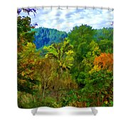 Early Autumn Along The Rogue River In Oregon Shower Curtain