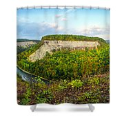Early Autumn At Genesee River Canyon New York Shower Curtain