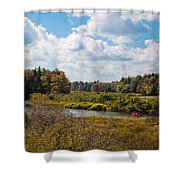 Early Autumn At The Tobie Trail Bridge Shower Curtain