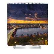 Early Bird Sunrise Shower Curtain