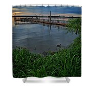 Early Day At The Dock Shower Curtain