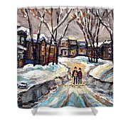 Original Montreal Paintings For Sale Winter Walk After The Snowfall Exceptional Canadian Art Spandau Shower Curtain