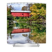 Early Fall Colors Surround A Covered Bridge In Vermont Shower Curtain
