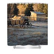 Early Farm Wagon Shower Curtain