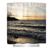 Early Lakeside - Waves Sand And Sunshine Shower Curtain