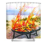 Early Morning Beach Bonfire Shower Curtain