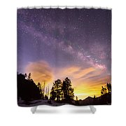 Early Morning Colorful Colorado Milky Way View Shower Curtain