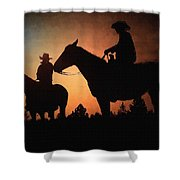 Early Morning Cowboys Shower Curtain