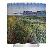 Early Morning Fog In The Foothills Of The Overberg Range Of Mountains Near Heidelberg South Africa. Shower Curtain