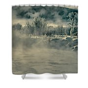 Early Morning Frost On The River Shower Curtain