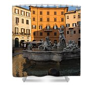 Early Morning Glow - Neptune Fountain On Piazza Navona In Rome Italy Shower Curtain