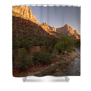 Early Morning Hike At Zion National Park  Shower Curtain