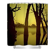 Early Morning Mist At The River Shower Curtain