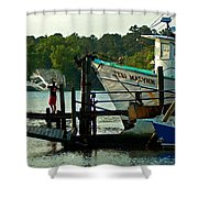 Early Morning Net Toss Shower Curtain
