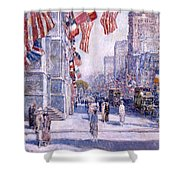 Early Morning On The Avenue In May 1917 - 1917 Shower Curtain