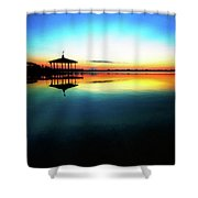 Early Morning Rays Over The Boat House Shower Curtain