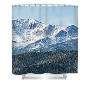 Early Morning Snow On Pikes Peak Shower Curtain