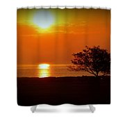 Early Morning Sunrise On A Silhouetted Beach Shower Curtain