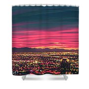 Early Morning Sunrise Over Valley Of Fire And Las Vegas Shower Curtain