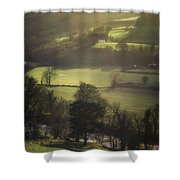 Early Morning Welsh Sheep Farming Shower Curtain