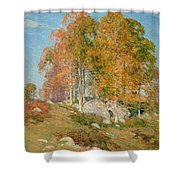 Early October Shower Curtain by Willard Leroy Metcalf