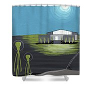 Early Painting Father And Son Aliens Shower Curtain