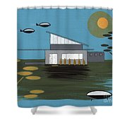 Early Painting Futuristic House Shower Curtain